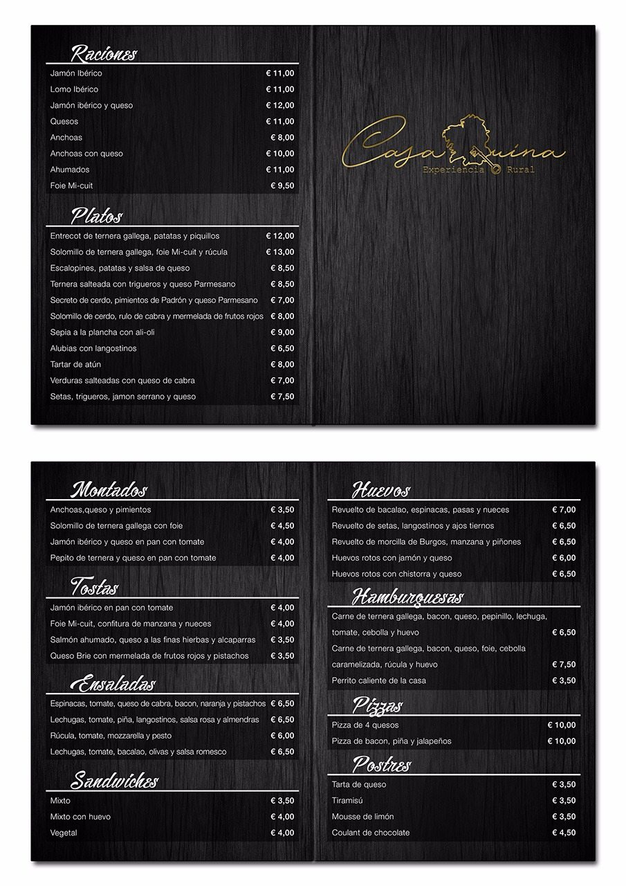 Carta restaurante Casa Quina